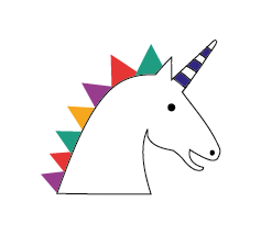 uno a white unicorn with a multi-coloured mane and a blue and white horn