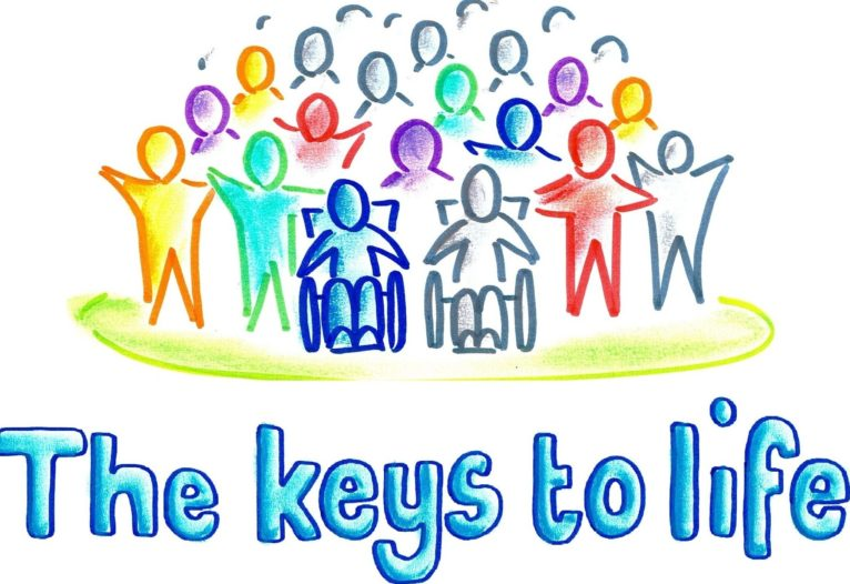Colourful illustrated people stand on a hill with their hands in the air. Text underneath reads: The keys to life