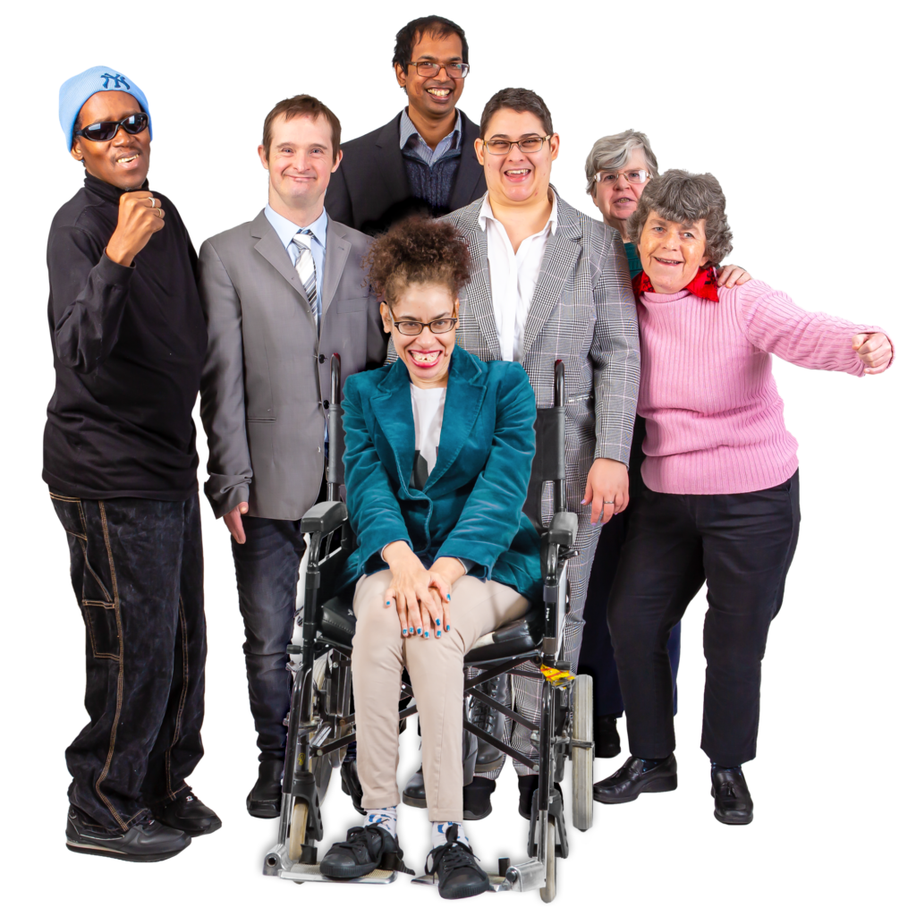 a group of people of different abilities, ages and ethnicity together smiling