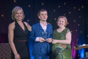 Highly Commended in the Creative Communities Category, Andrew Moodie accepts his award at the Learning Disability Awards 2019