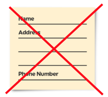 Personal information card - crossed out
