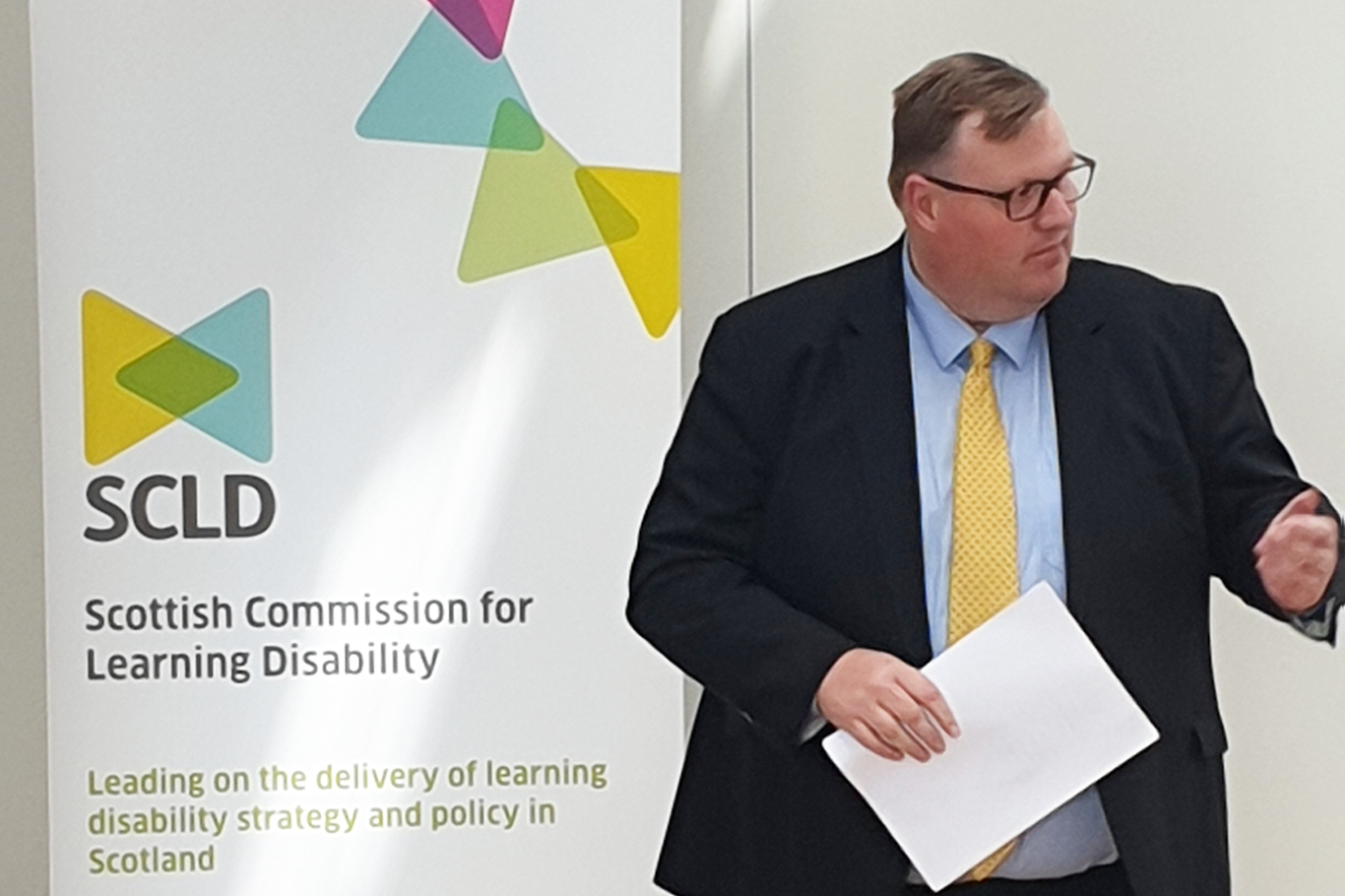 Councillor Stuart Currie makes a speech at the launch of SCLD's local strategy guidance