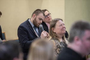 SCLD's Cameron Smith asks a question to the panel at the General Election 2019 Disability Hustings event