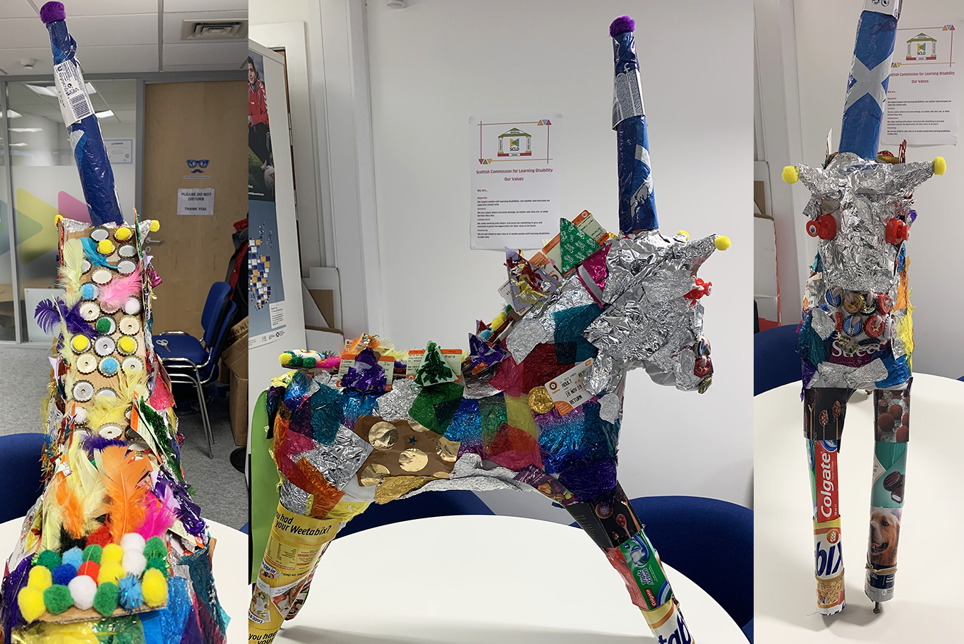 A series of pictures showing Uno the Unicorn, the Scottish Learning Disability Week mascot, made entirely of recycled materials.