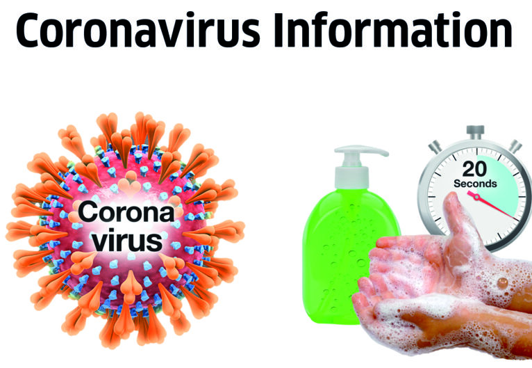 A picture of the Coronavirus and hand soap, someone washing their hands and a timer showing 20 seconds
