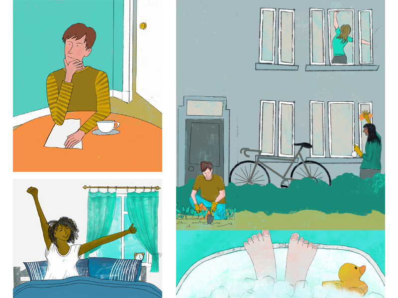 Illustrated images showing people partaking in different home-based activities, such as gardening, dancing, thinking and waking up.