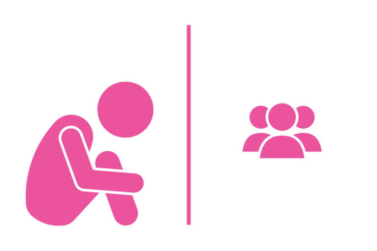 stickperson in crouched position, separated from group of people
