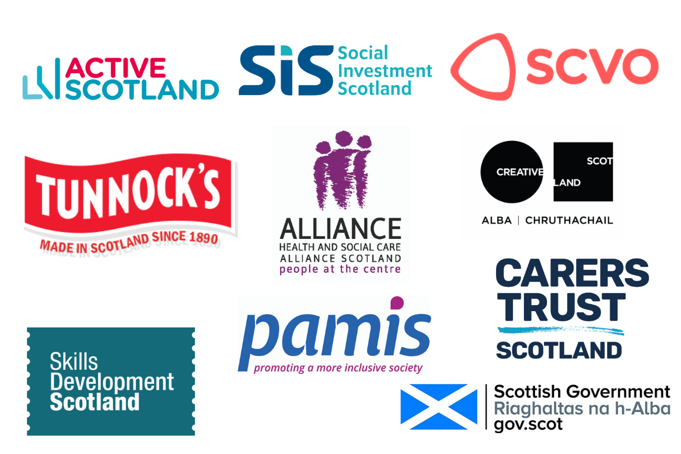 logos of the supporters of the Scottish Learning Disability Awards 2020 supporters