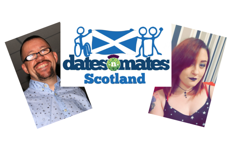 Photo of John Paul and Sarah with dates-n-mates logo in the middle
