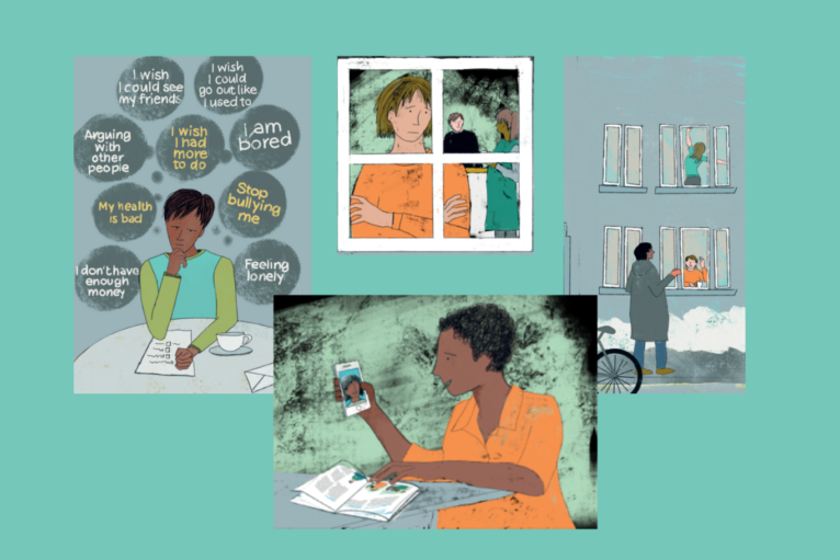 Illustrations showing common experiences over the pandemic, such as video calling
