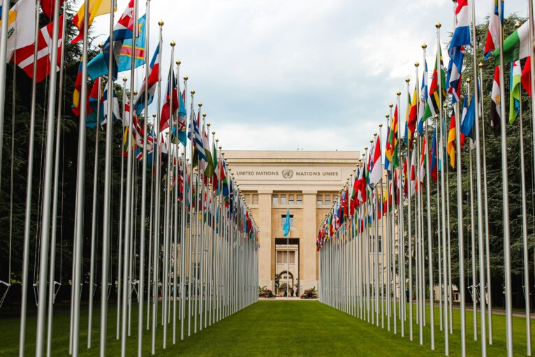 A view of the front of the UN headquarters in Geneva, seen through the flags of different nations. Photo credit: Mat Reding on Unsplash
