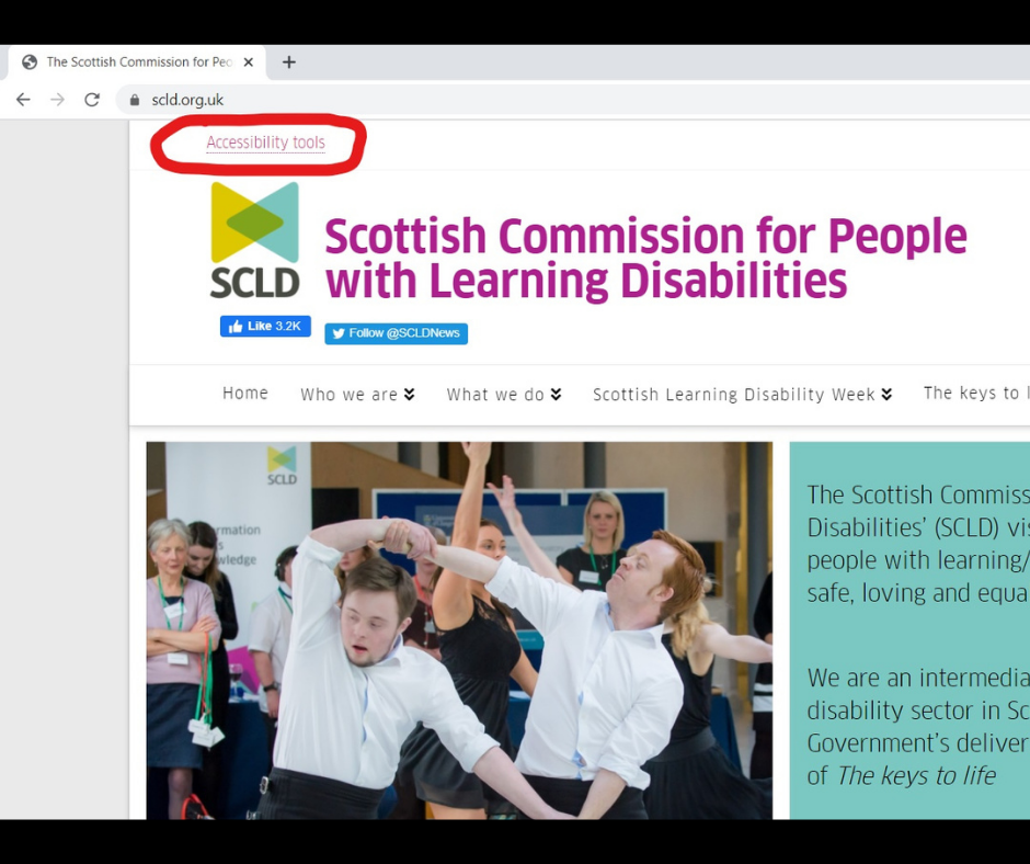 Image of SCLD homepage. In top left-hand corner link to 'Accessibility Tools' is circled