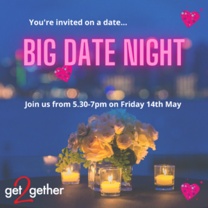 Big Date Night flyer. Image of roses and candles.
