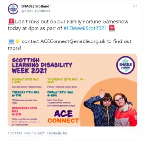 Enable Scotland Twitter post